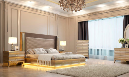 Glamorous Metallic Silver 5pc Bedroom Set