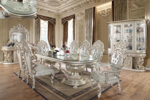 Glamorous Metallic Silver 9pc Dining Set