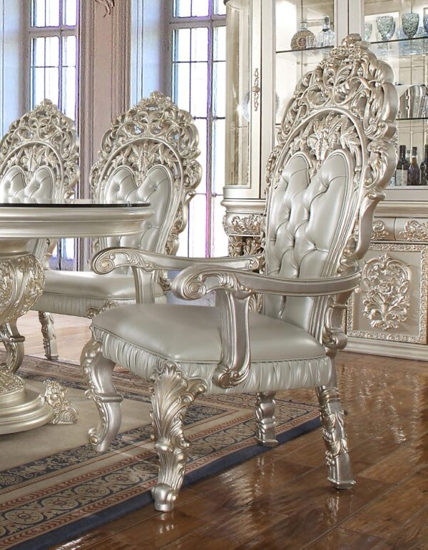 Glamorous Metallic Silver 9pc Dining Set