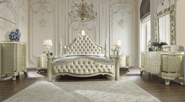 Glamorous Satin Gold 5pc Bedroom Set