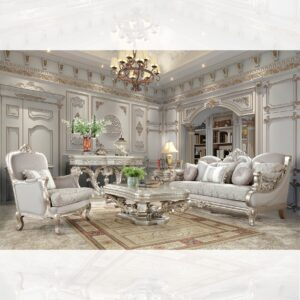 Glamorous Solid Wood 3pc Sofa Set