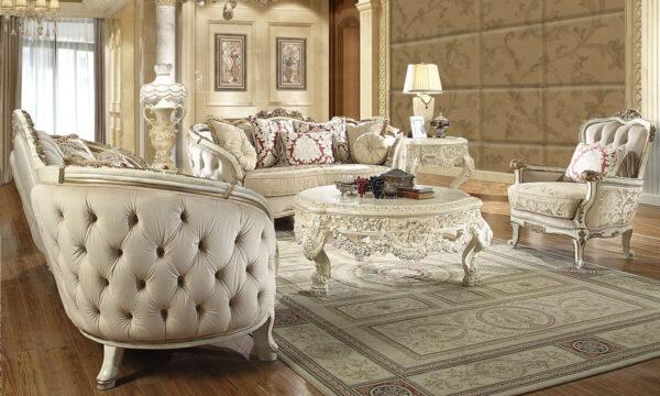 Glamorous White Cream 3pc Sofa Set