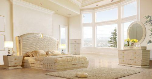 Glamorous White Gloss 5pc Bedroom Set