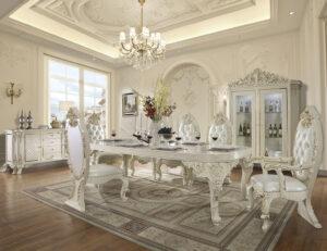 Glamorous White Gloss 9pc Dining Set