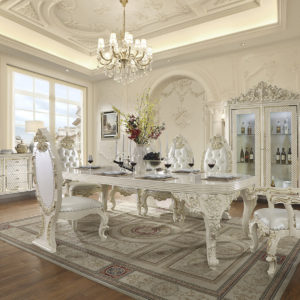Glamorous White Gloss 9pc Dining Set