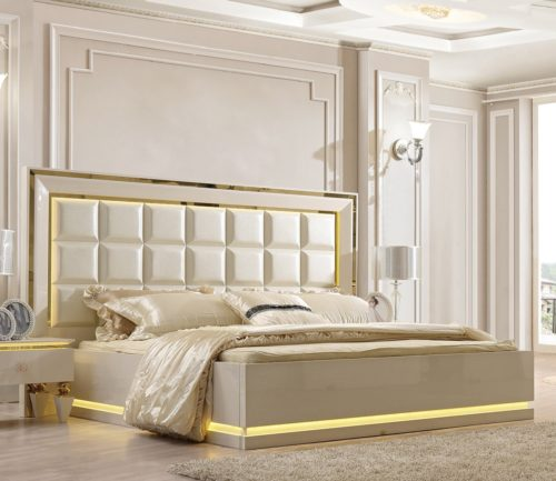 Glamorous White Leather 5pc Bedroom Set