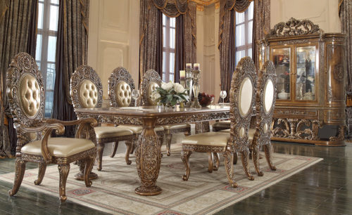Gold Brown Glamorous 9pc Dining Set