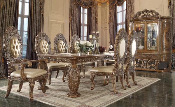 Gold Brown Glamorous 9pc Dining Set