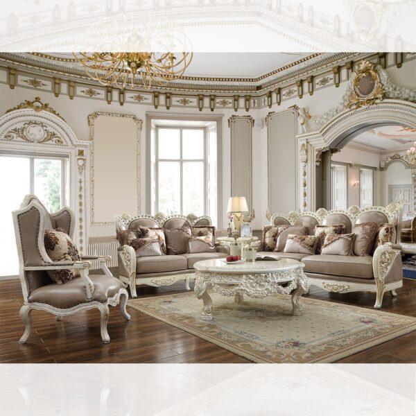 Luxurious 3pc White Sofa Set
