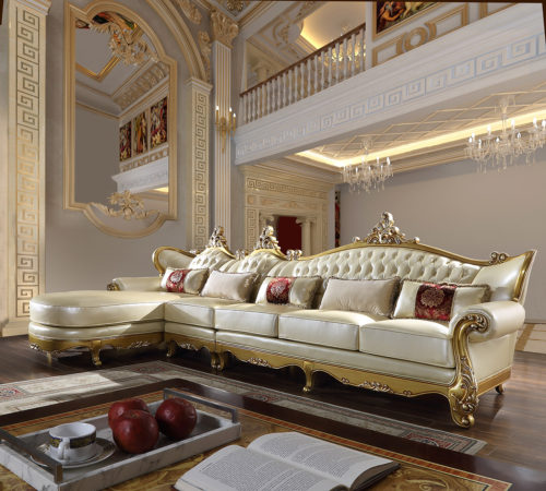 Luxurious Antique Gold 3pc Sofa Set