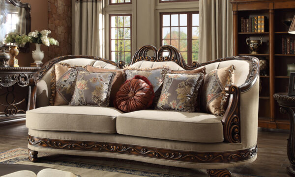 Luxurious Dark Red 3pc Sofa Set
