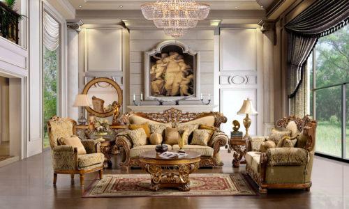 Luxurious Golden Tan 3pc Sofa Set