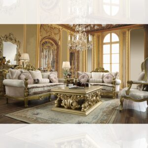 Luxurious Metallic Gold 3pc Sofa Set