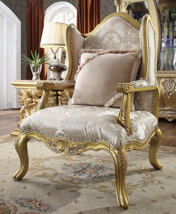 Luxurious Metallic Gold 3pc Sofa Set