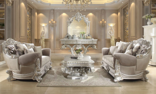 Luxurious Metallic Silver 3pc Sofa Set