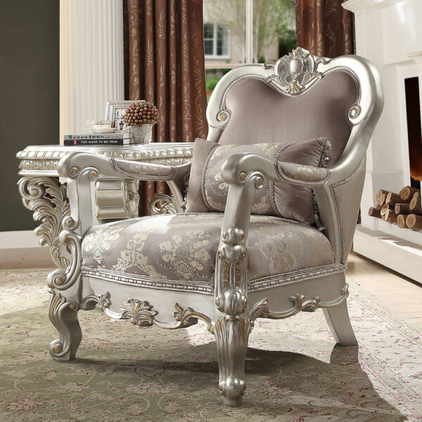 Luxurious Metallic Silver 3pc Sofa Set