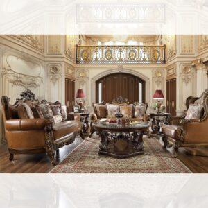Luxurious Mohawk Leather 3pc Sofa Set