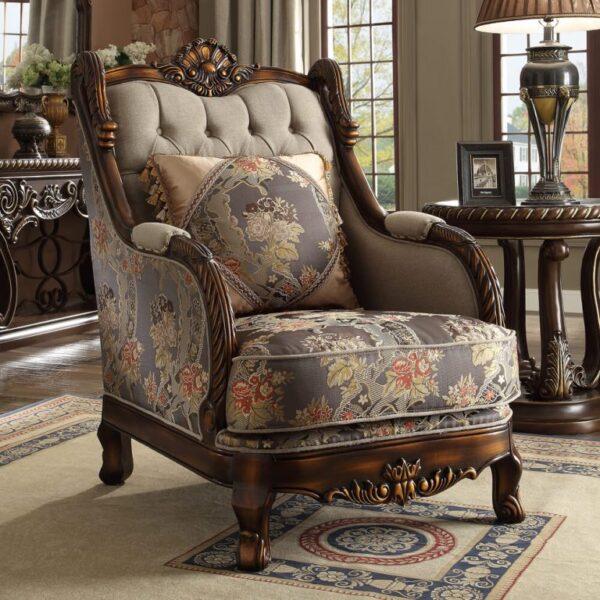 Luxurious Red Mahogany 3pc Sofa Set
