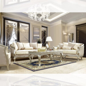 Luxurious Silver Metallic 3pc Sofa Set
