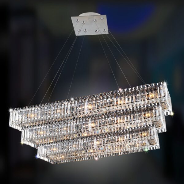 Baguette Rectangular 3 Tier Pendant