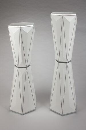 Artmax White Silver Pedestals