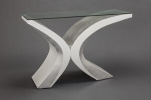 Artmax White Silver Console Table