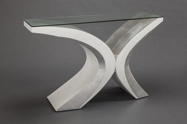 Artmax White Silver Console Table