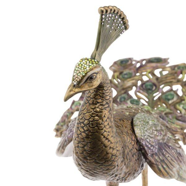 Jay Strongwater Theseus Peacock Figurine