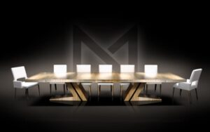 Metall Furniture Double Base Custom Dining Table